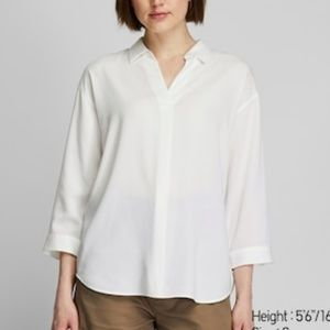 Uniqlo Skipper Collared 3/4 Sleeve Top White